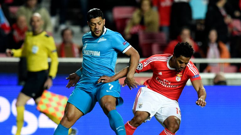 Zeni forward Hulk (left) tackles Benfica defender Eliseu during the Champions League last-16 first leg