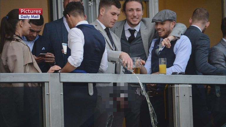 Luke Ayling (second from right), with James Collins and Samir Carruthers at Cheltenham on Tuesday (picture from the Daily Mail)
