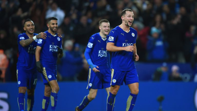Danny Drinkwater of Leicester City celebrates with team mates