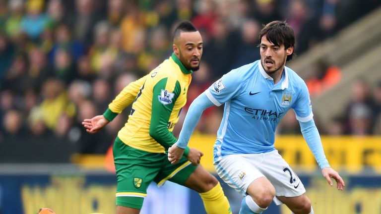 David Silva of Manchester City and Nathan Redmond of Norwich City compete for the ball