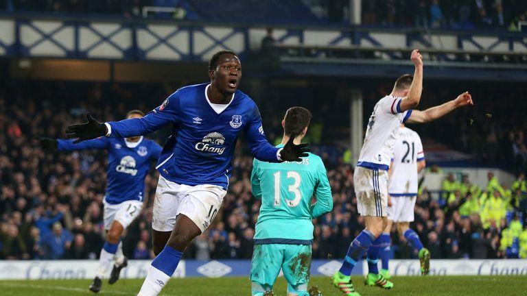 Romelu Lukaku celebrates after opening the scoring