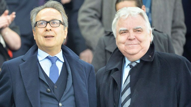 Farhad Moshiri (L) with Everton chairman Bill Kenwright