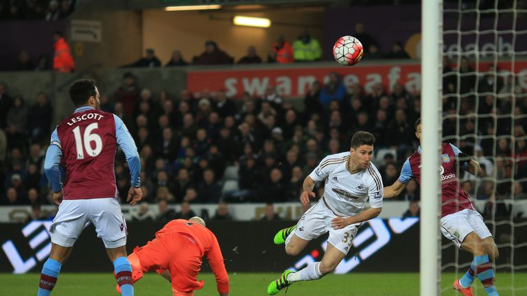 Federico Fernandez (second right) puts Swansea 1-0 up against Aston Villa