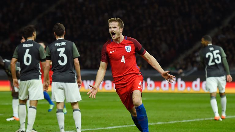 Eric Dier of England celebrates scoring his team's third goal against Germany