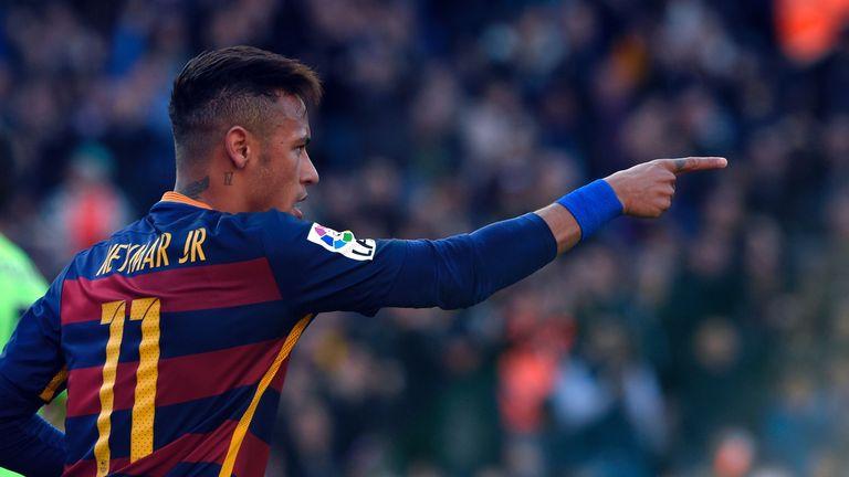 Barcelona's Brazilian forward Neymar celebrates