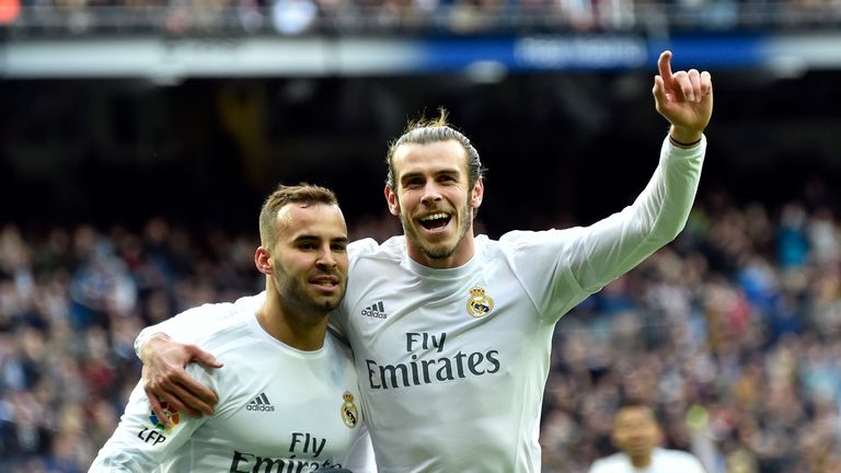 Real Madrid's forward Jese Rodriguez (left) celebrates a goal with  Gareth Bale