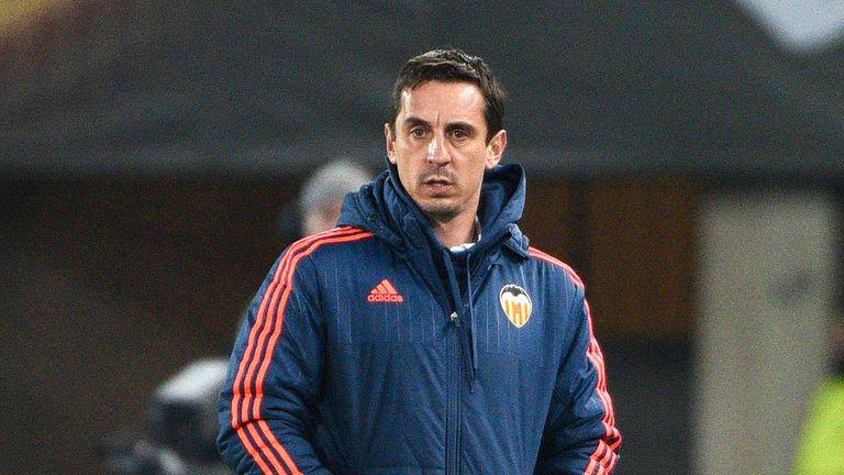 Valencia's head coach Gary Neville f