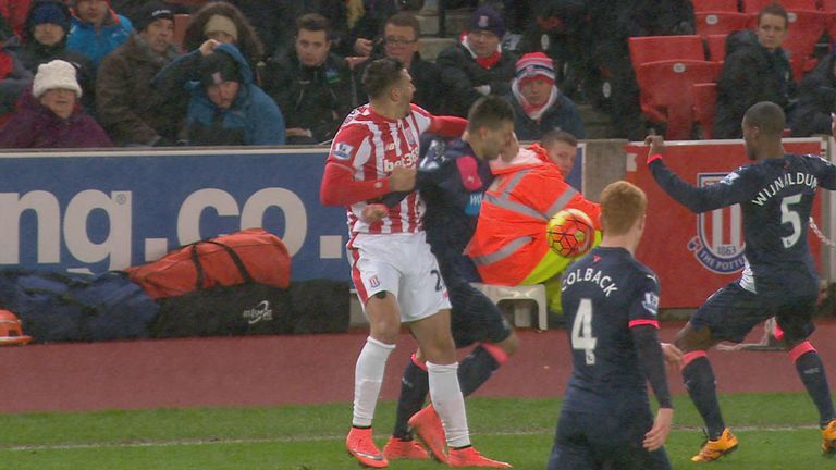 Geoff Cameron was not booked for putting his hand in Aleksandar Mitrovic's face
