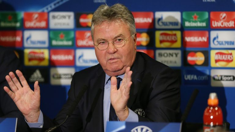 Guus Hiddink, interim manager of Chelsea, during a media conference ahead of their UEFA Champions League game with PSG