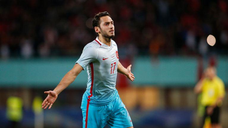 VIENNA, AUSTRIA - MARCH 29:  Hakan Calhanoglu of Turkey celebrates after scoring during the international friendly match between Austria and Turkey