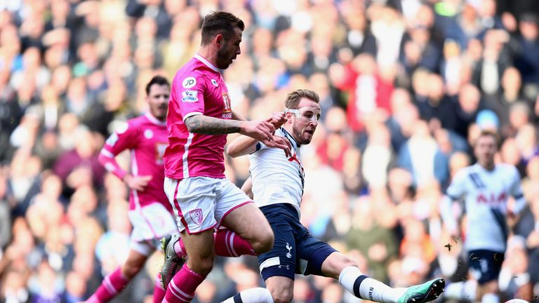 Harry Kane scores his second goal of the afternoon