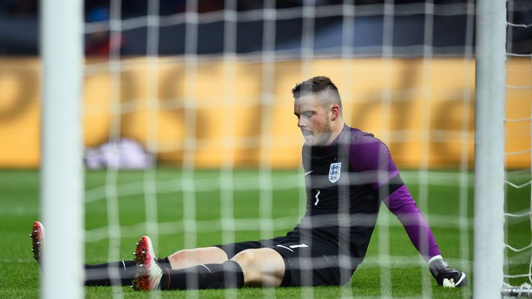 Jack Butland fractured his ankle in England's victory over Germany last month