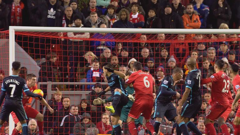 James Milner did not appear to handball Augero's header off the line