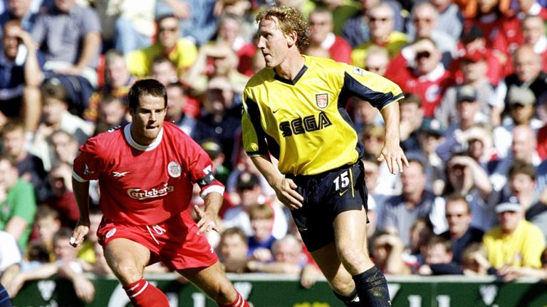 Ray Parlour (r) made his debut against Liverpool at Anfield in 1992