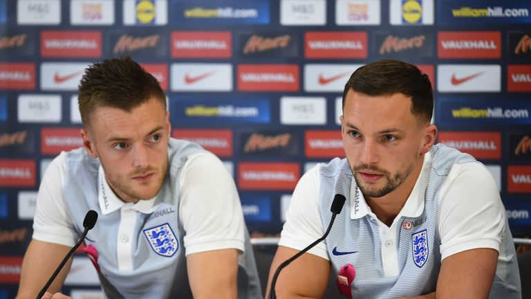 Danny Drinkwater and Jamie Vardy of England talk to the press