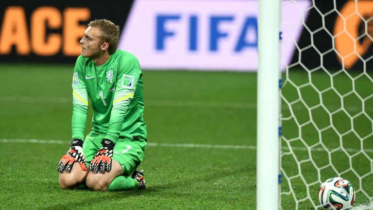 SAO PAULO, BRAZIL - JULY 09:  Jasper Cillessen of the Netherlands sits on the pitch after failing to save the penalty kick of Maxi Rodriguez of Argentina (
