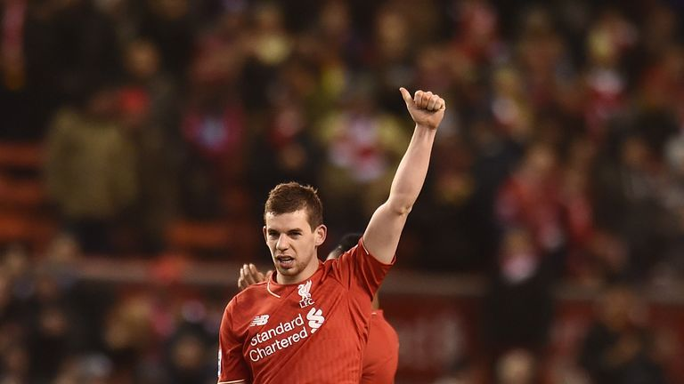 Jon Flanagan celebrates after Liverpool's 3-0 victory over Manchester City