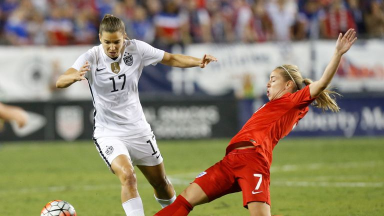 England midfielder Jordan Nobbs tackles USA's Tobin Heath during the SheBelieves Cup match on March 3, 2016 at Raymond James Stadium in Tampa.