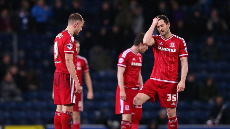 Jordan Rhodes and David Nugent of Middlesbrough look on after conceding the opening goal