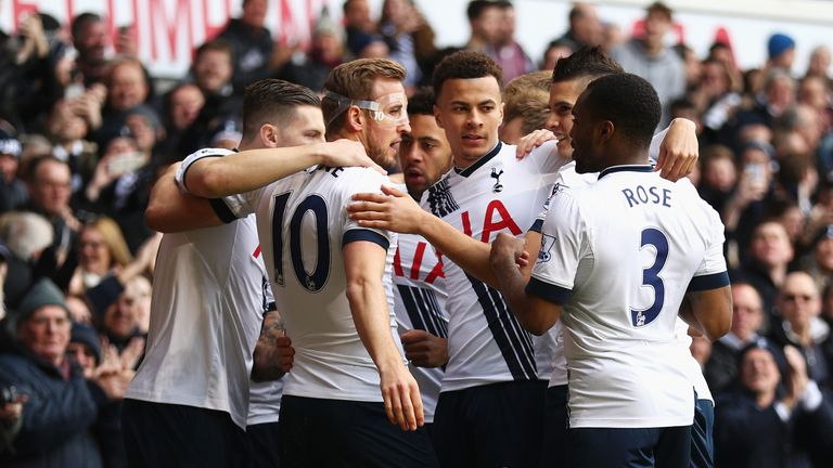 Harry Kane celebrates with team-mates after putting Tottenham 1-0 up against Bournemouth