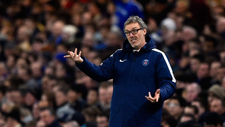Head Coach Laurent Blanc of PSG directs his players