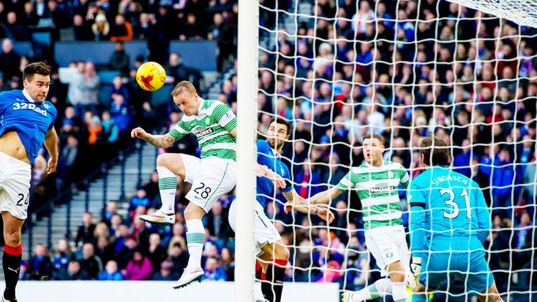 Celtic striker Leigh Griffiths scores in his club's previous meeting with Rangers