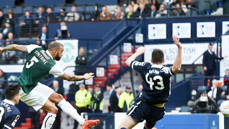 Liam Fontaine scores Hibernian's equaliser at Hampden against Ross County
