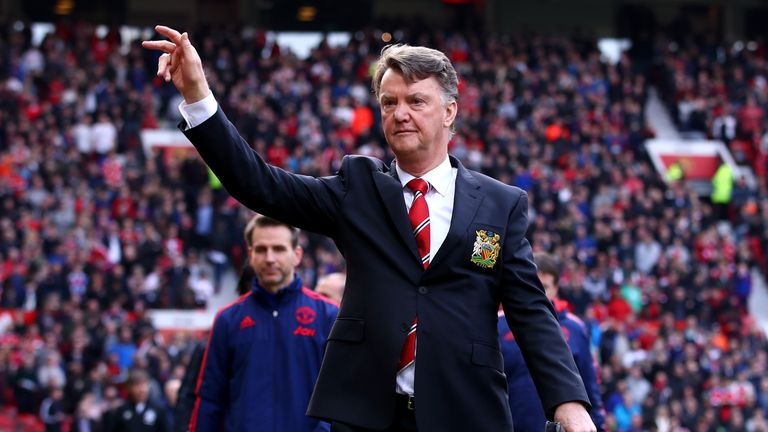 Louis van Gaal manager of Manchester United waves to the crowd prior to the Emirates FA Cup sixth round match between Manchester United and West Ham