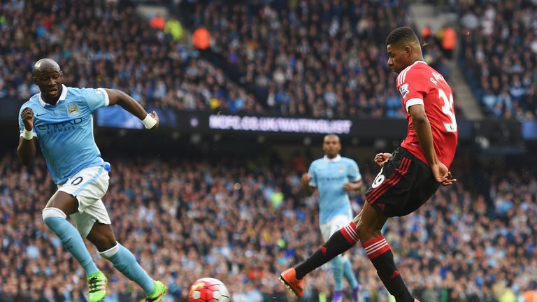 Marcus Rashford opens the scoring for Manchester United at the Etihad