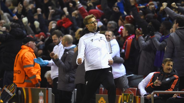 Jurgen Klopp celebrates after Liverpool's second goal against Man United