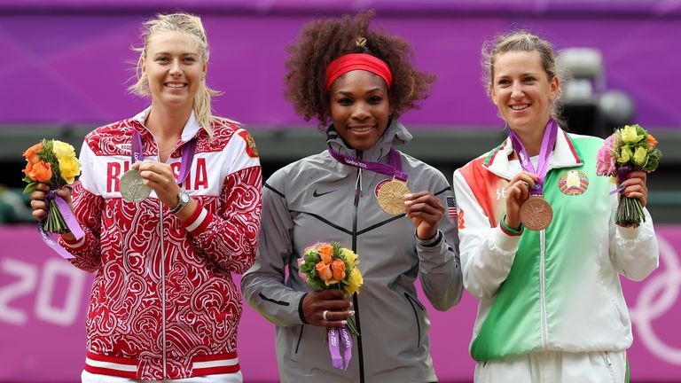 Sharapova on the podium at London 2012 after she was beaten to the gold medal by Serena Williams