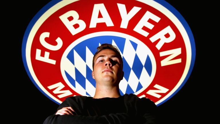 MUNICH, GERMANY - NOVEMBER 22:  FC Bayern Muenchen player Mario Goetze poses during his visit at the FC Bayern