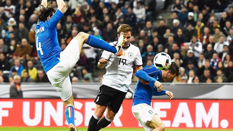 Mario Gotze (c) scores for Germany in the 4-1 win over Italy