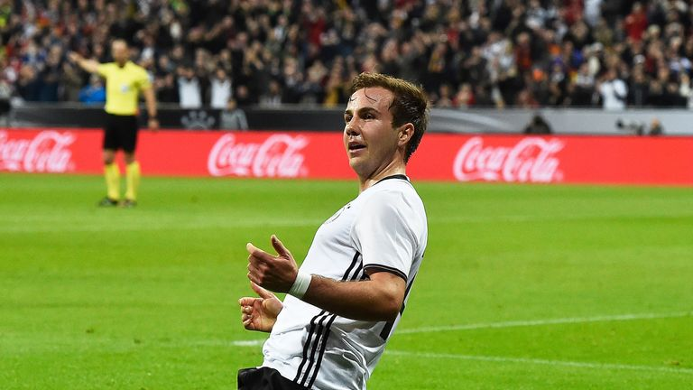 MUNICH:  Mario Goetze of Germany celebrates after scoring the second goal during the International Friendly match between Germany and Italy