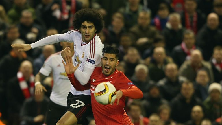 LIVERPOOL, ENGLAND - MARCH 10:  Marouane Fellaini of Manchester United in action with Emre Can of Liverpool