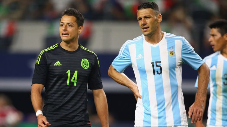 Martin Demichelis #15 of Argentina during a international friendly at AT&T Stadium o