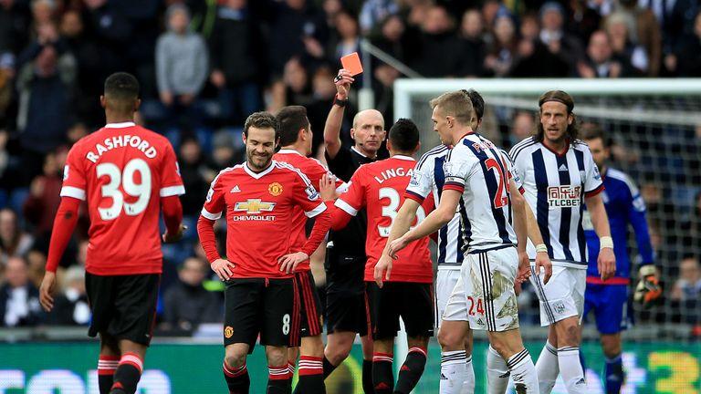 Mike Dean sends off Juan Mata, West Brom v Manchester United, Premier League