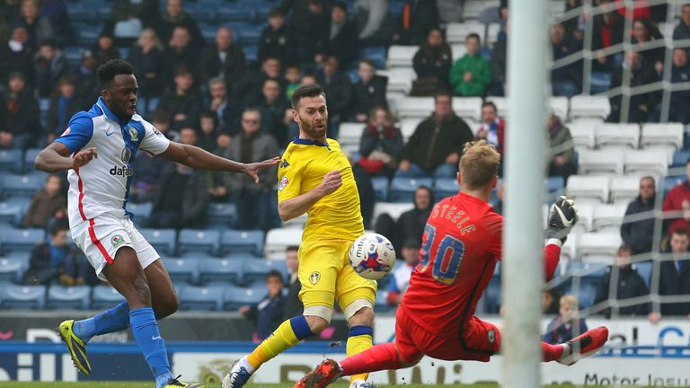Leeds United's Mirco Antenucci (centre) scores his side's second goal during the Sky Bet Championship match at Ewood Park, Blackburn.