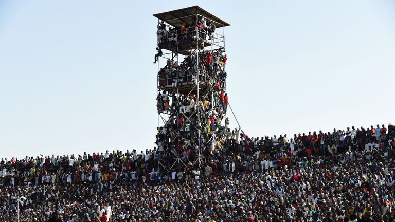 Supporters crammed in to see the African Cup of Nations qualification match between Egypt and Nigeria