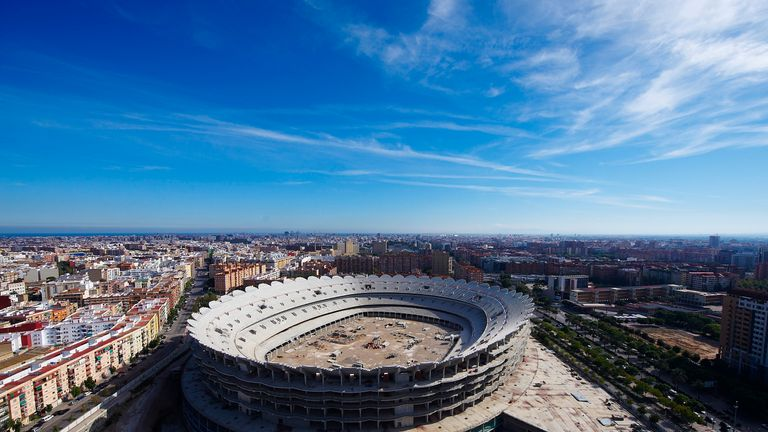 VALENCIA, SPAIN - SEPTEMBER 29: A general view of the Nou Mestalla Stadium, which is half built as Valencia struggle with a huge debt and so continue to pl
