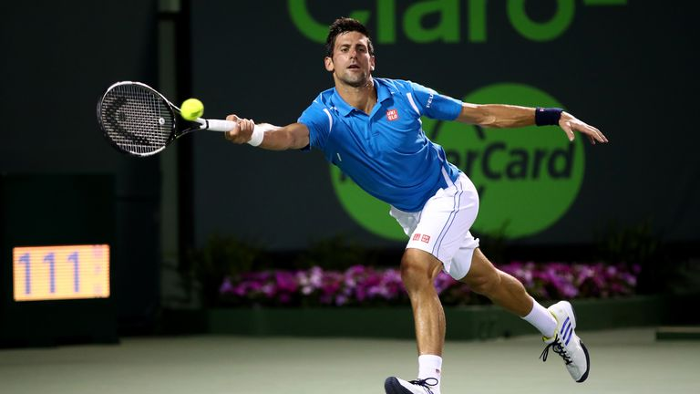 Novak Djokovic is in action at the Miami Open on Sunday