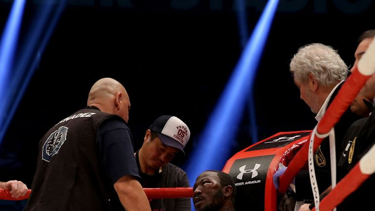 Afolabi sits dejected in his corner following last month's fight with Huck