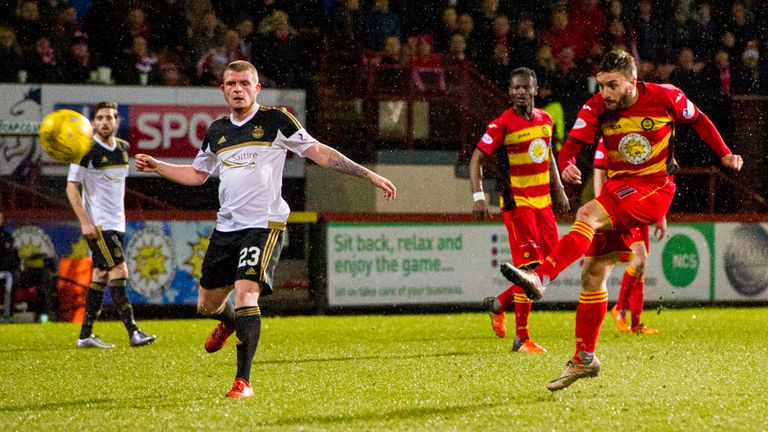 Partick Thistle's Steven Lawless makes it 1-0 against Aberdeen in the Scottish Premiership