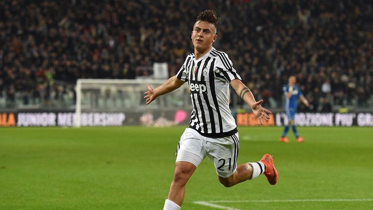 Paulo Dybala of Juventus FC celebrates after scoring the opening goal
