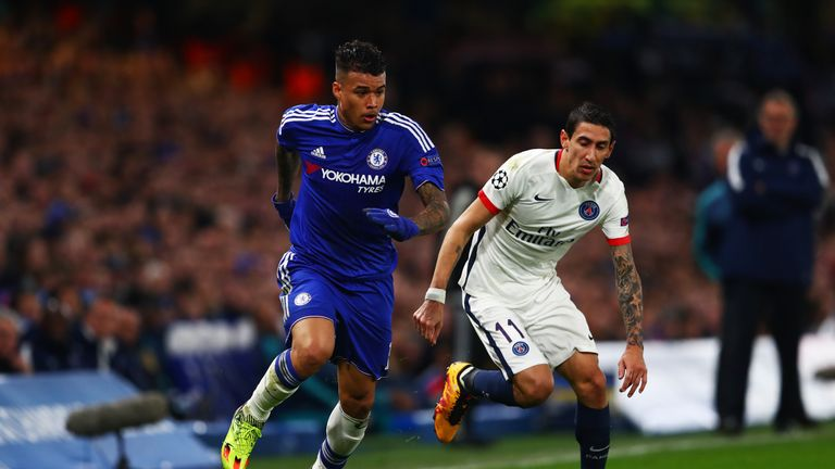 Kenedy of Chelsea goes past a challenge from Angel Di Maria of PSG