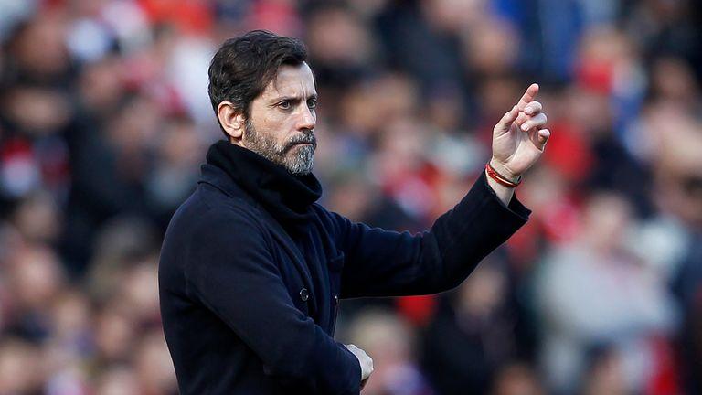 Watford's Spanish manager Quique Sanchez Flores gestures
