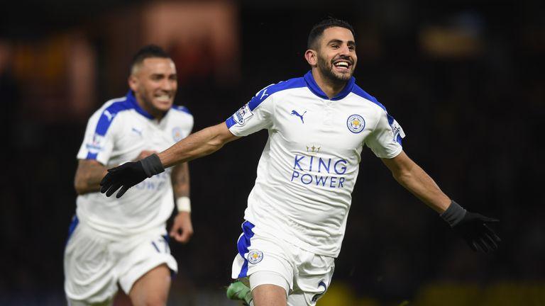 Riyad Mahrez celebrates scoring Leicester's opener at Watford