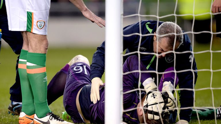DUBLIN, IRELAND - MARCH 29:  Rob Elliot of the Republic of Ireland suffers a suspected serious injury during the international friendly match between the R