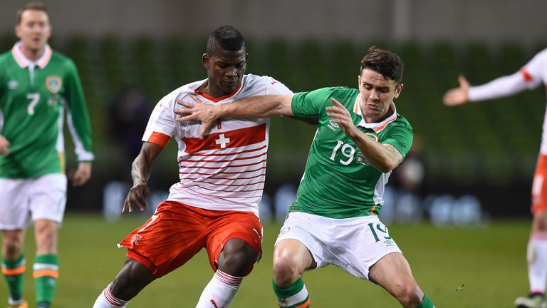 Switzerland's Breel Embolo in action against Robbie Brady of Ireland