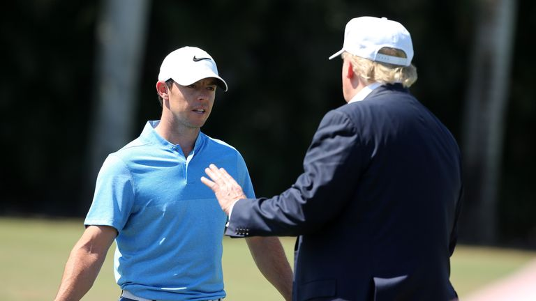 Presidential candidate Donald Trump visited Rory McIlroy before the start of his final round